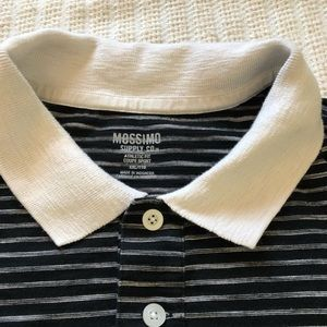 Mossimo Men's Polo Shirt Black/Cream striped